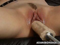 Gorgeous blonde bitch dominates the slut with a fuck machin