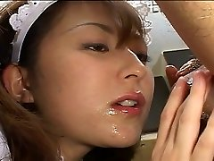 Japanese maid pleases her boss
