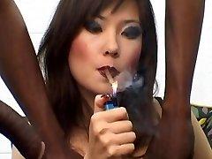 Russian Prostitute Lyuba B smoking cigar with Big Black Cock