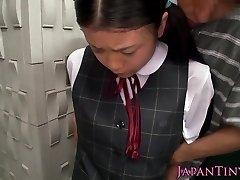 Innocent chinese schoolgirl tasting cum closeup