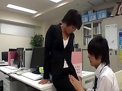 Office doll wank in office with co-worker