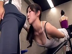 Japanese lecturer acquires erection at the gym