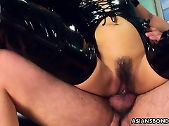 Romping her wet cunt as she wears her PVC footwear