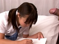 Lusty Asian college tart Momoka Rin deep-throats juicy man sausage of her camera fellow