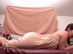 Oiled Asian darling prefers getting massaged by her pal