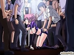 Bombshell Japanese anime gang-fuck in the public show