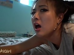 GREEN EYES 18 Year Old Asian SOAKED in White Man's Jizm after pounding
