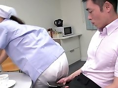 Cute Japanese maid flashes her big bra-stuffers while deep-throating two dicks (FMM)