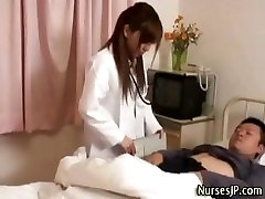 Horny japanese nurse babe taunts