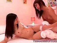 Japanese les teenage schoolgirls share vibrator