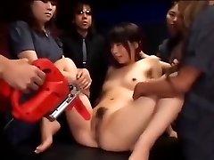 Japanese superslut gets her cunt stimulated till she splatters