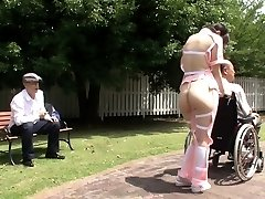 Subtitled weird Japanese half nude caregiver outdoors