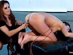 Sexy MILF dominates Cute All Natural Japanese LIVE on Electrosluts!