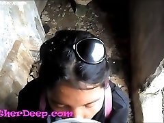 Heather Deep investigates trail in jungle and get creamthroat in abandoned restroom