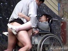 Horny Japanese nurse gargles penis in front of a voyeur