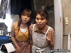 Horny asian MILFS sucking and fucking