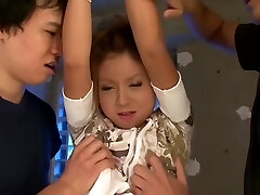 Bad little Asian girl gets punished by 2 dicks