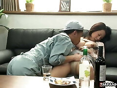 Japanese brunette slut, Asuka is fucking a timid handyman, unc