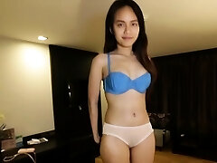 Petite lass gets her unshaved beaver gratified by some stud