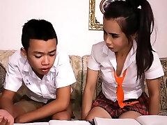 Asian man sucks off ladyboy study partner schoolgirl
