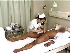 Asian nurses drain black cock