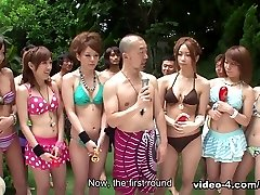 Gals in bikinis are partying in the swimming pool - AviDolz