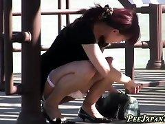 Japanese teen slut pissing