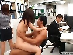 Chinese couple fucks in the middle of an office
