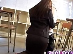 Mei Sawai Asian big-chested in office suit gives hot blowage at college