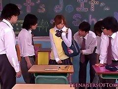 Japanese bukkake teen in class jerking weenies