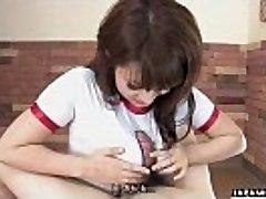 Adorable Japanese teenager wanks and sucks her dude&#039_s hard wang