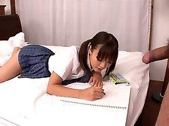 Lusty Asian college hoe Momoka Rin sucks juicy cock of her camera dude