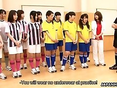 Japanese students getting toy drilled during gym