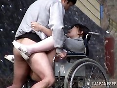 Super-naughty Japanese nurse deep throats cock in front of a voyeur