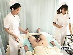Subtitles CFNM two Chinese nurses hand-job with cumshot