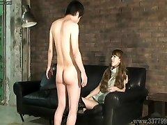 CFNM Japanese femdom Ruri like to watch a youthful bare man ma