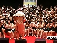 Subtitled CFNM Japanese massive hand job suck off event
