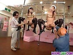 Kinky restrain bondage for sleazy maids