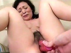 55yr elderly Granny Kayoe Ozawa Splashes and Creamed (Uncensored)