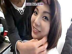 Funny Asian stunner chooses huge latex dildos to stiff cocks