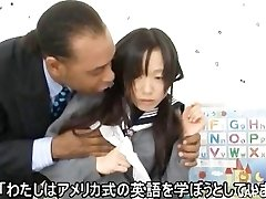 Japanese schoolgirl sucking meatpipe