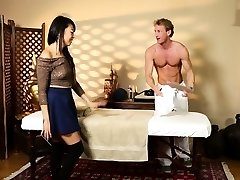 Oriental babe massaged and plumbed