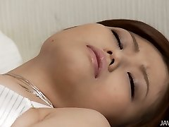 Beautiful Asian angel Nao attempts to satisfy her pussy with thumbs