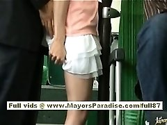 Rio asian teen stunner getting her hairy pussy caressed on the bus