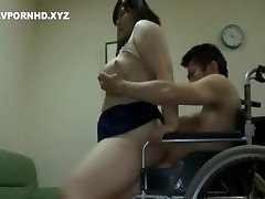 Chubby Japanese Mom Satisfy Handicapped Son-in-law lust