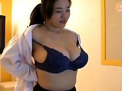 Korean woman with big boobs tease
