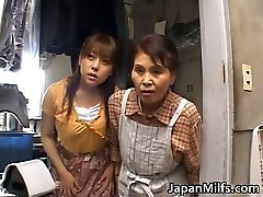 Horny japanese MILFS deep throating and fucking