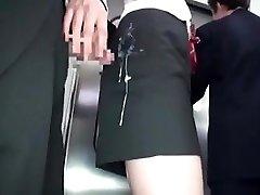 jap girls gets cum in clothes