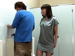 Riho Mikami sucks a stiff manmeat in a public toilet