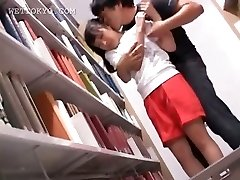 Succulent asian girl getting hot nipples sucked in library